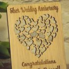 Personalised 25th Silver Wedding Anniversary, Filigree Hearts Card Plaque Gift